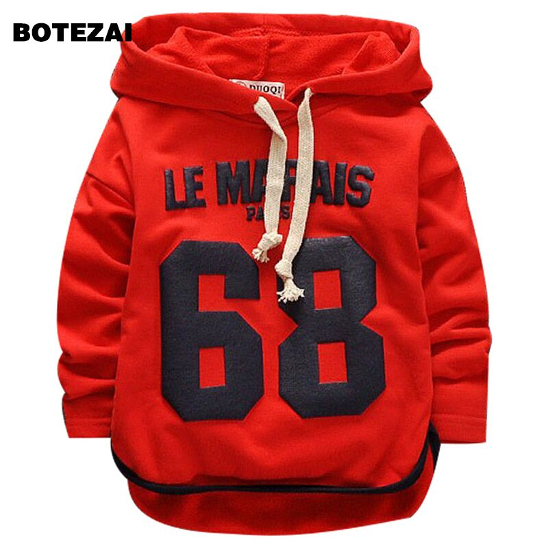BOTEZAI Boys T-Shirts Spring Autumn Cotton Letter Full Seleeve Hooded Boy's T-Shirt Kids Clothes Children's Clothing