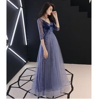 Doparty new 2019 v neck women party sexy tulle evening dress plus size long elegant lace gowns royal blue dresses soiree X5