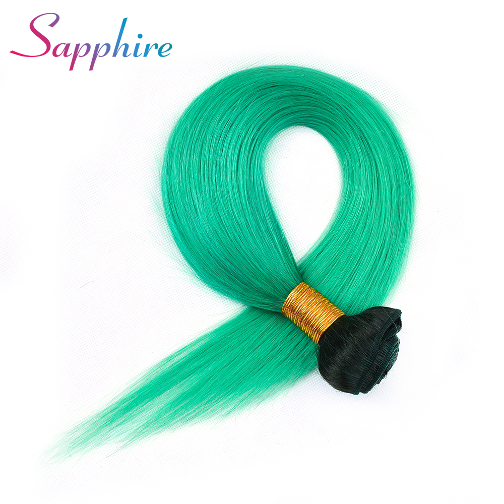 SAPPHIRE 3 Bundle T 1B Green Ombre Peruvian Hair Weave Straight Black Root Green Fashion Color Human Hair Extension