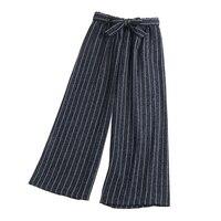 Phụ nữ Giản Dị Quần Chân Rộng Thanh Lịch Cotton Linen Quần Sọc Phụ Nữ Mất Mỏng Tất Cả Các Trận Đấu Trắng/Quần màu be Pantalon Femme