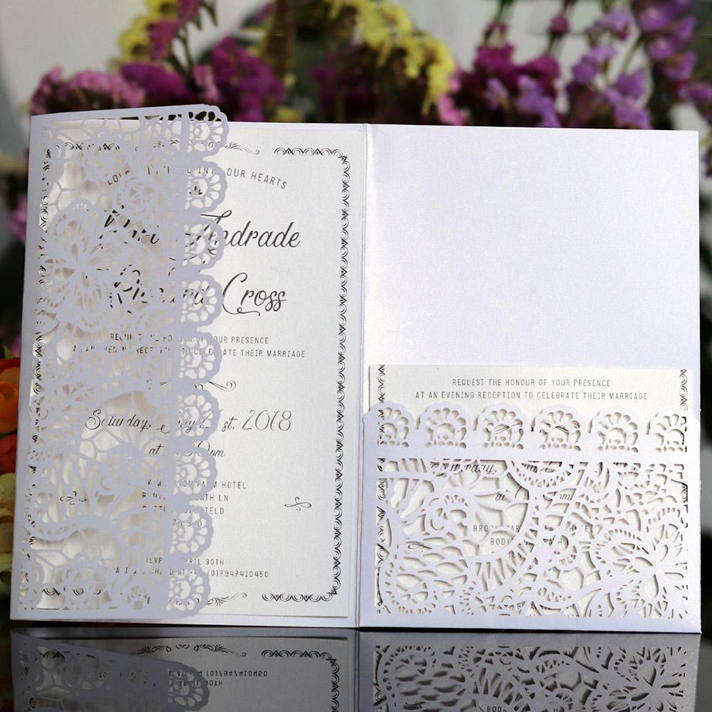 Wedding Invitations Business: 10PCS Laser Cut Wedding Invitations Cards Tri Fold Lace