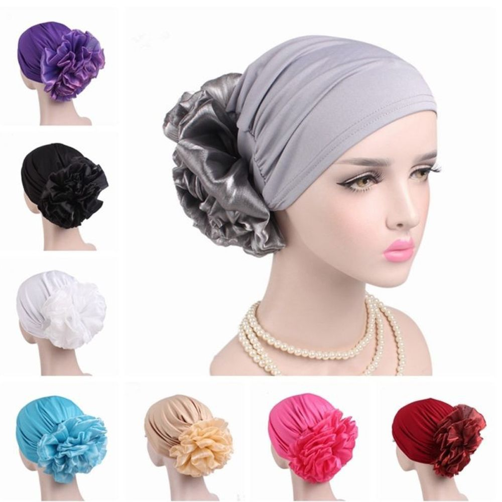 2018 New Women Flower Muslim Hair Loss Cap Turban Hat Cancer Elastic Fashion Chemo Hot Drilling Cotton Head Wrap Solid Color Hat(China)