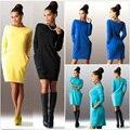 Nuevo suéter de invierno de las mujeres de bodycon túnica mini dress casual manga larga con capucha jumper top dress bolsillos vestidos de festa 800149