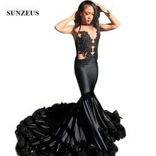 Sunzeus Mermaid Prom Dress With Feathers Beaded Appliques