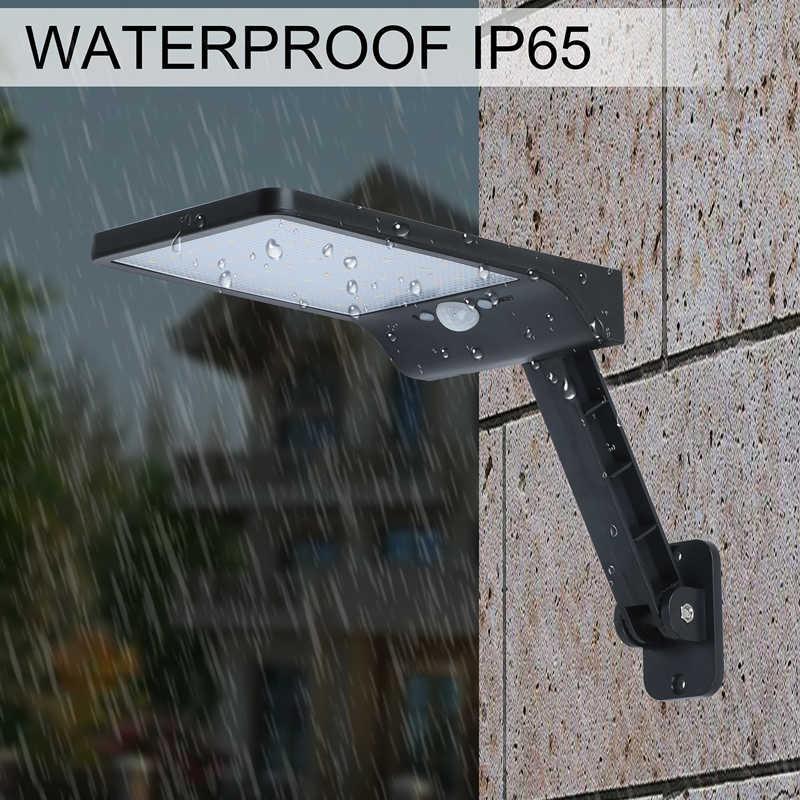 QLTEG 48 светодиодный солнечный светильник 450LM PIR датчик движения Ip65 Водонепроницаемый Уличный настенный садовый светильник ротационный пульт дистанционного управления