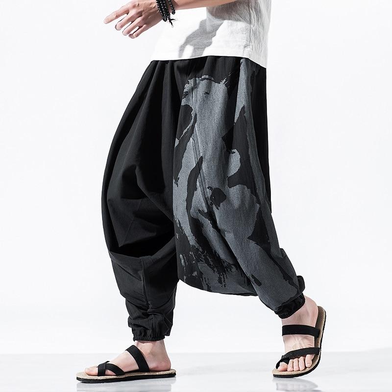 ★  Мужские легкие брюки из гарема льна Yoga Boho ①