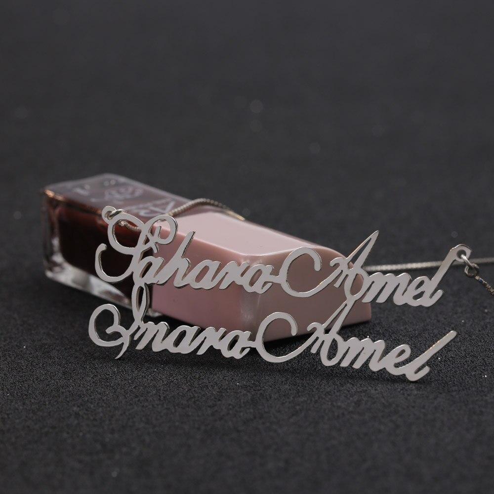 Couple nom collier femmes 925 solide argent personnalisé gravé collier cadeau de noël