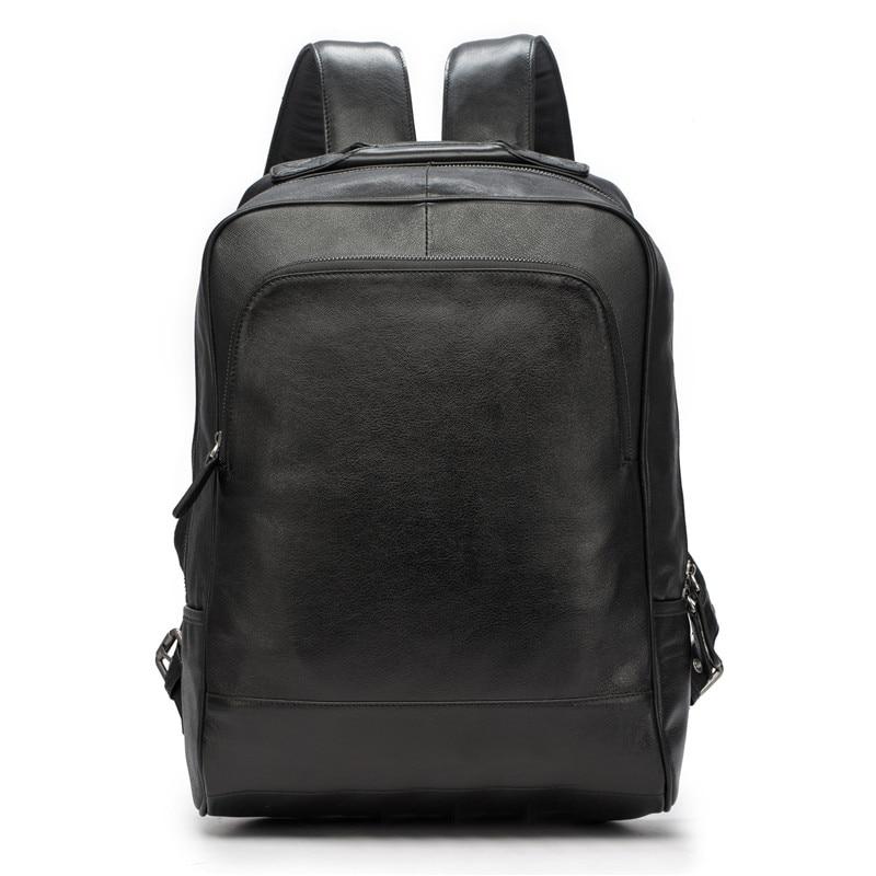 Men's Backpack Genuine Leather Men School Bags Fashion Male Travel Laptop Black Shoulder Bag Large Capacity Student Business Bag