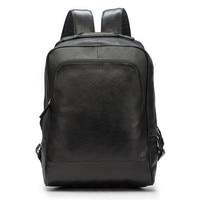Men Backpack Genuine Leather Men School Bags Fashion Male Travel Backpack Black Shoulder Bag Large Capacity