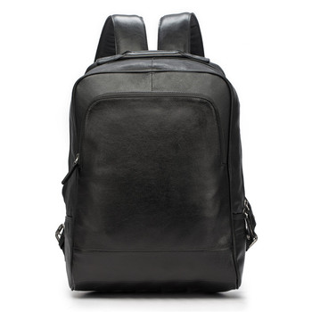 Men's Backpack Genuine Leather Men School Bags Fashion Male Travel Laptop Black Shoulder Bag Large Capacity Student Business Bag three box mens backpack fashion pu leather backpack leisure student school bag for women men vintage casual laptop business bags