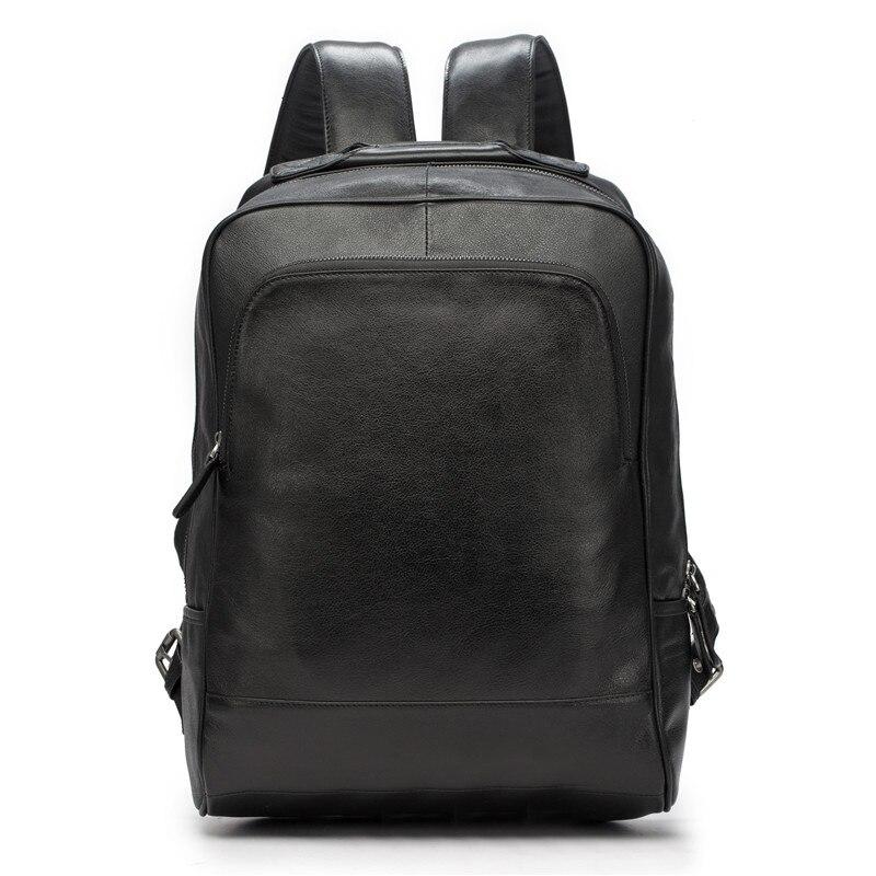 цена на Men's Backpack Genuine Leather Men School Bags Fashion Male women Travel Backpack Black Shoulder Bag Large Capacity Bag 2107