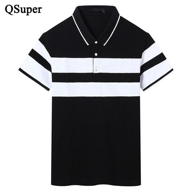 Qsuper británico nuevos hombres del estilo polo camisetas blanco negro patchwork de manga corta slim fit camisa de algodón ropa de la marca de lujo