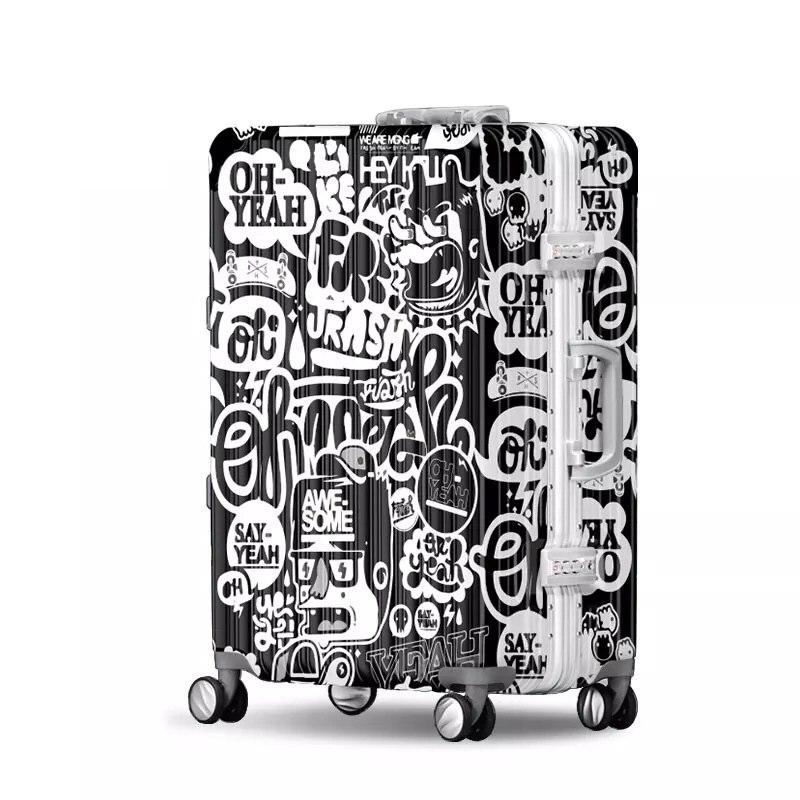 Graffiti Persönlichkeit Roll Gepäck Aluminium Rahmen Reise Internat Koffer Druck Trend Schwarz Weiß Harajuku Wind Gepäck Weitere Rabatte üBerraschungen