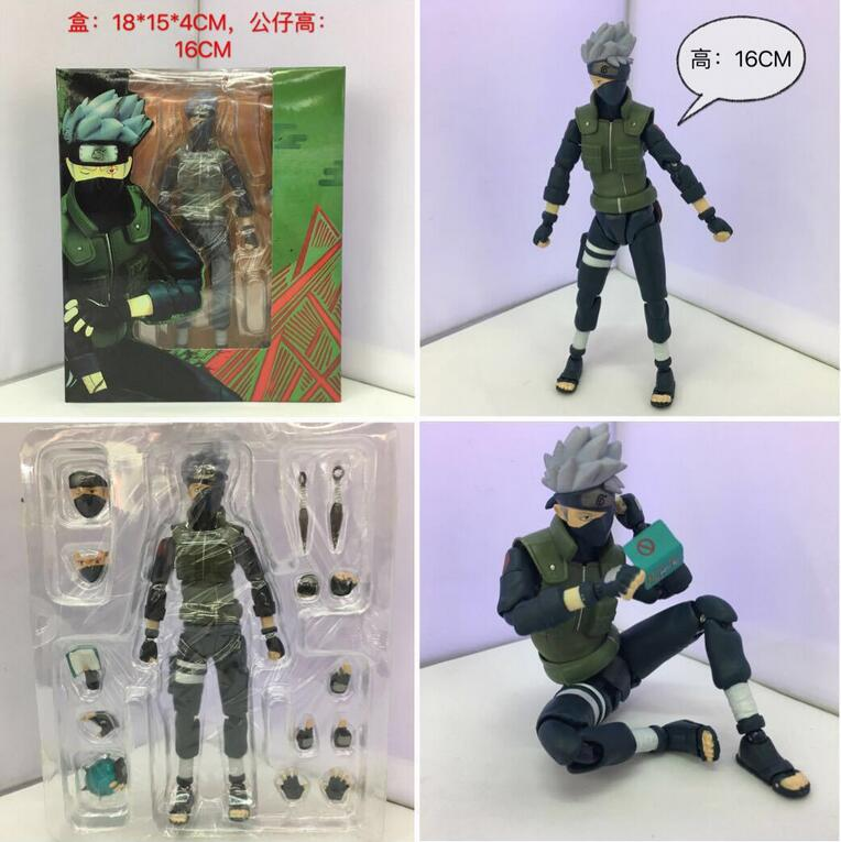 16cm Naruto Hatake Kakashi joint Anime Action Figure PVC figures toys Collection for Christmas gift with retail box 21cm naruto hatake kakashi pvc action figure the dark kakashi toy naruto figure toys furnishing articles gifts x231
