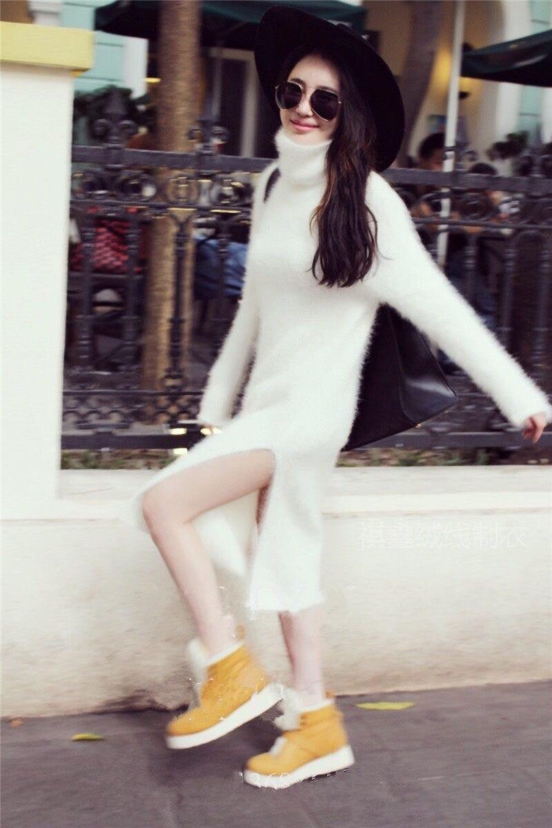 A plush mink cashmere font b sweater b font female long winter loose Turtleneck Shirt thickening