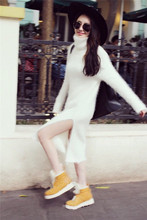 A plush mink cashmere sweater female long winter loose Turtleneck Shirt thickening