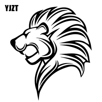 YJZT 14.5CM*16.6CM Lion Fashion Cartoon Car Stickers Vinyl Decal Bumper Decoration Black/Silver C4-1090 image