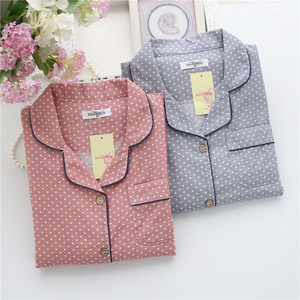 Image 2 - Pyjamas à pois simples ensembles femmes 100% coton printemps japonais décontracté femmes vêtements de nuit à manches longues pyjamas