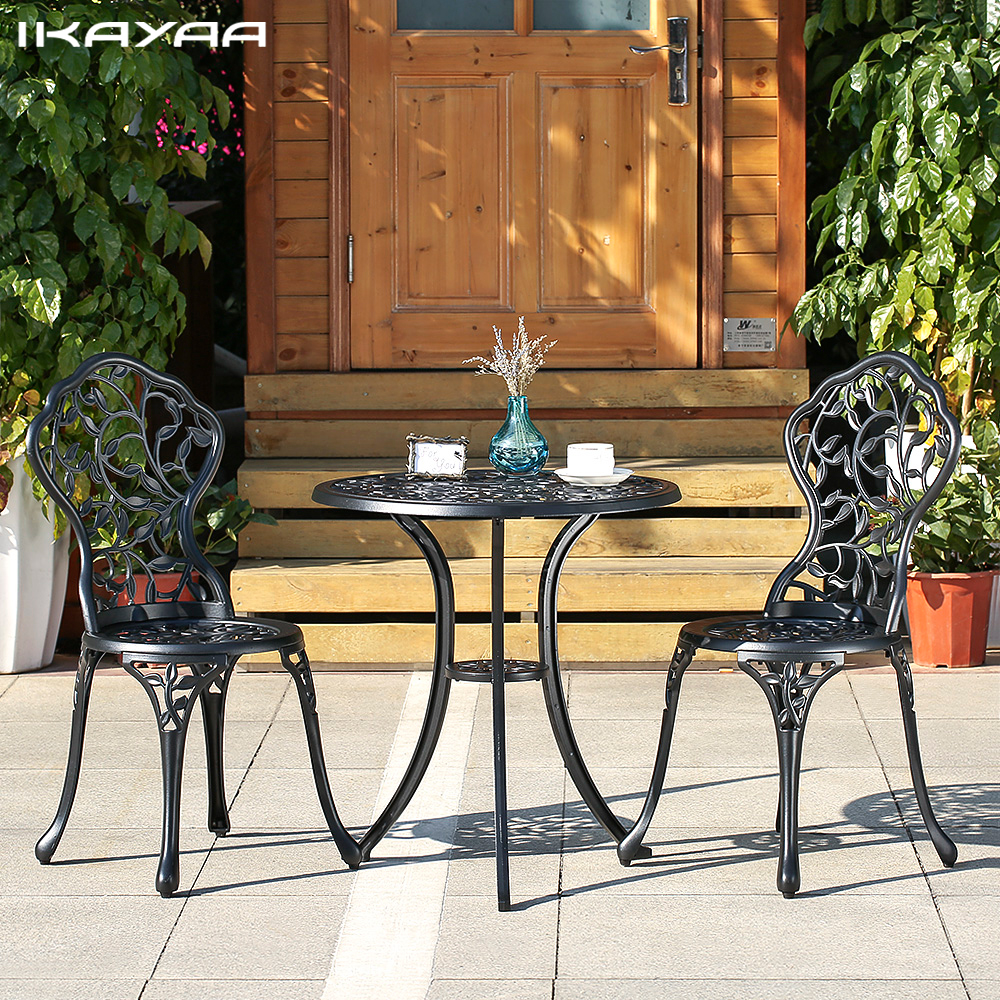 ikayaa unids moderno al aire libre patio set negro blanco de aluminio porche balcn mesa