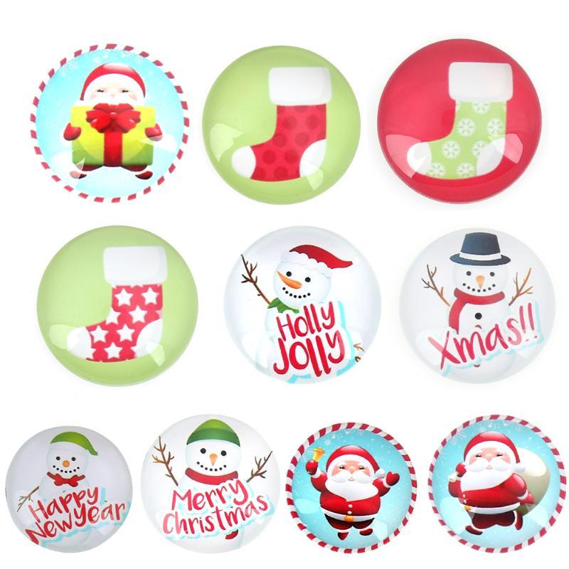Christmas Fridge Sticker Magic Magnet Home Decor Removable Christmas Stickers Santa Claus Glass Cabochon Sticker Decoration 2017