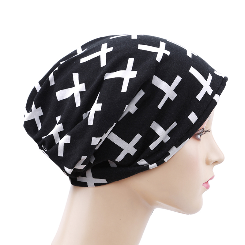 Spring Autumn Women Men   Skullies     Beanies   Thin Cross Printing Female Caps Casual Bonnet Male Hat Turban Hats New Arrival