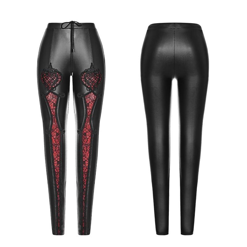 Relieve Elástica De Dos Black Encaje Punk Pantalones Colores Rave En Wk328 Mujeres Decorativo red Malla Kera Leggings RwqSF