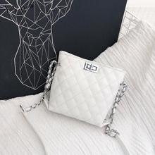 2018 Sıcak Satış Kadın Deri Çanta Kadınlar Için Sarı Beyaz Bayanlar Küçük Kilit Zinciri Mini Crossbody omuz çantaları Bolsos Mujer Yeni