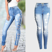 New Ultra Stretchy Blue Tassel Hole Ripped Jeans Woman Denim Pants Trousers For Women's Skinny Pencil Jeans