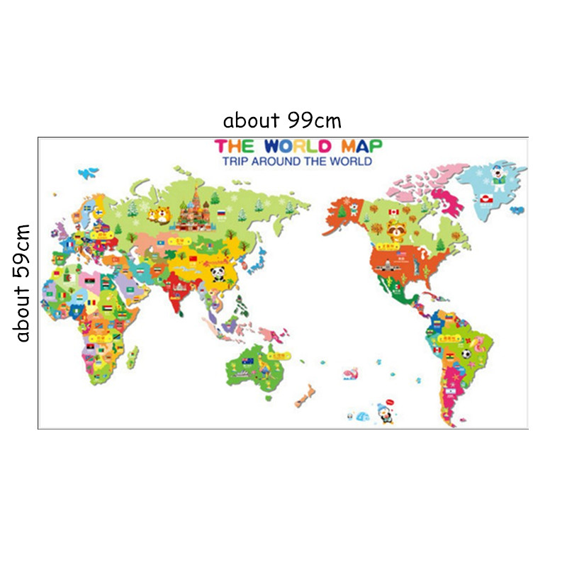 Children Puzzle World Map Wall Stickers National Flag Symbols Pvc