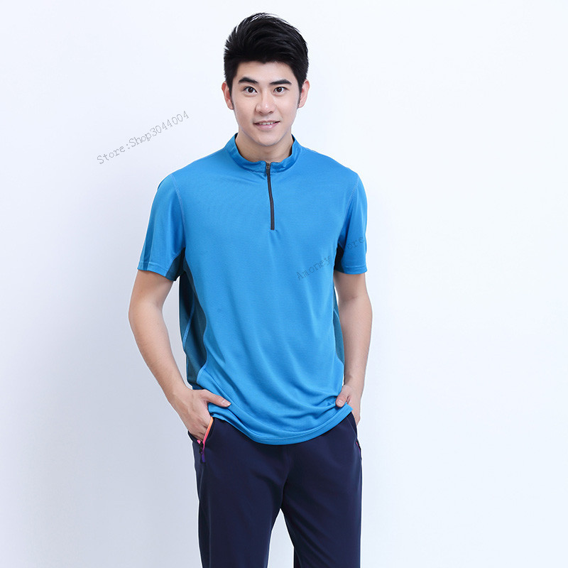 Adsmoney Mens Tennis Shirts With Pants Polyester Short Sleeve T Shirt Quick Dry Breathable Polo Golf Table Tennis Sportswear