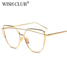 WISH CLUB Fashion Women Glasses Titanium Glasses Frame's Men Eye Glasses Gold Shield Frame Eyeglasses Transparent High Quality