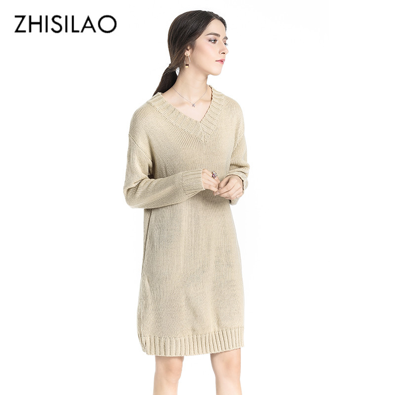 ZHISILAO 2017 Winter Woman Sweaters And Pullovers Sexy Thicken Knitted Sweater Dress Long Christmas Sweater Sueter Pull Femme