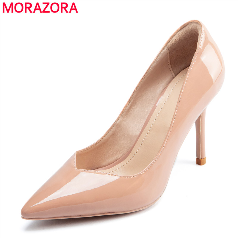 MORAZORA 2019 new arrival women pumps cow patent leather high heels shoes ladies spring summer shoes solid colors dress shoes MORAZORA 2019 new arrival women pumps cow patent leather high heels shoes ladies spring summer shoes solid colors dress shoes