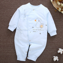 Baby clothes String Closure Coveralls O-Neck Long-Sleeves Soft Cute Full-Sleeves Jumpsuits 3-6 Months