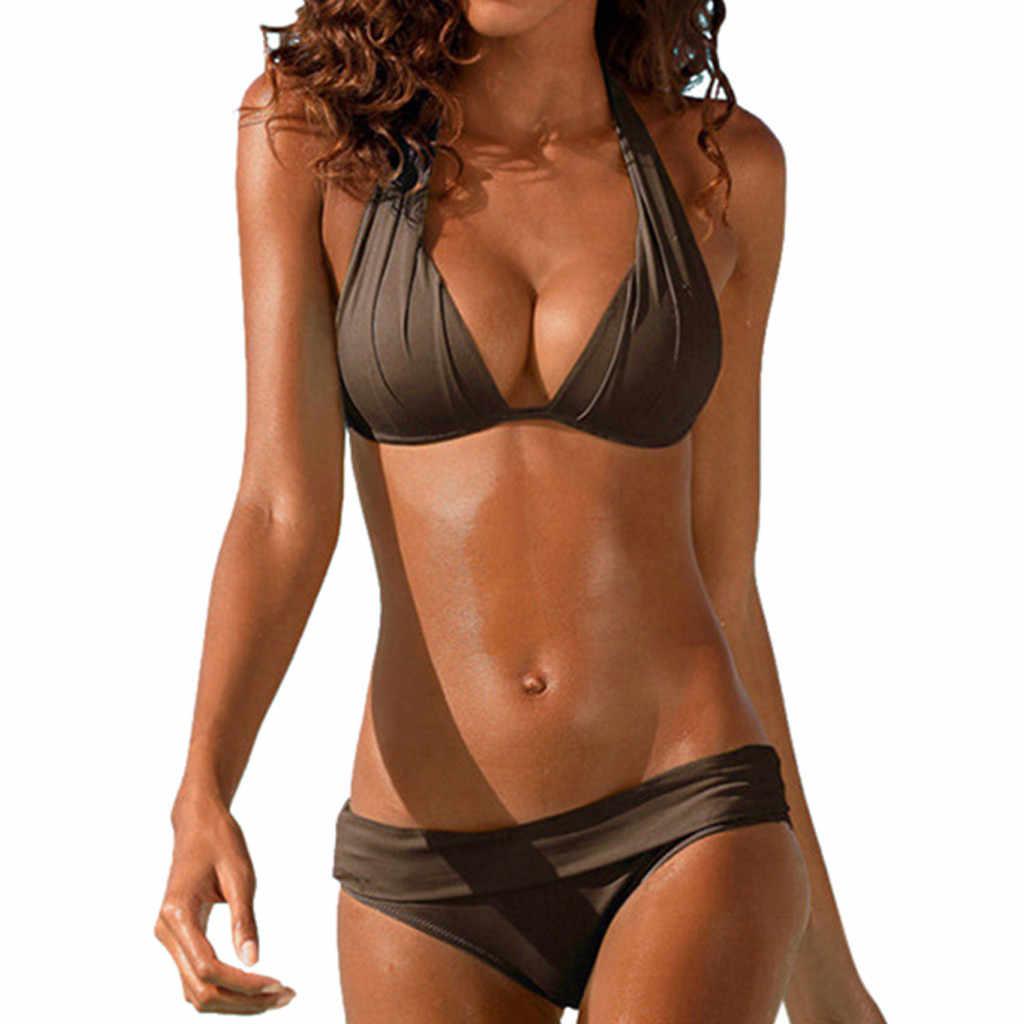 SAGACE deux pièces Sexy solide Bikini rembourré brésilien licou rétro maillots de bain 2019 été Push Up taille moyenne maillot de bain maillots de bain