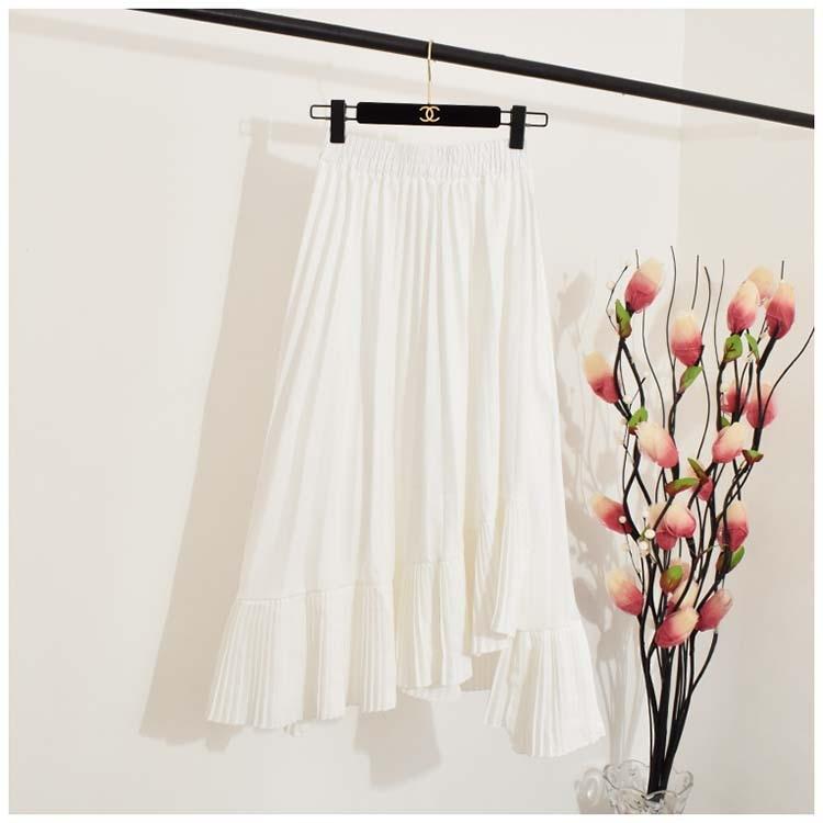 0980 women irregular pleated chiffon bust skirt female spring 2019 new high waist skirts long girl 3