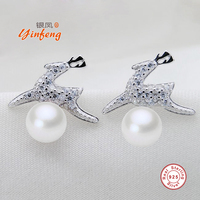 Yinfeng 925 Sterling Silver Deer Stud Earrings With AAAA 100 Real Pearl Elegant Earrings Zirconl