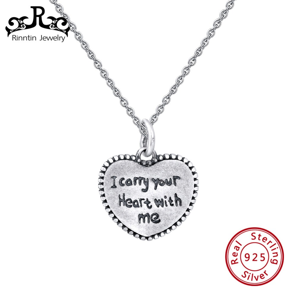 Rinntin Real 925 Sterling Silver Heart Women Pendant Necklaces Long Chain Vintage Customize Female Jewelry Lettering Gift TSN143Rinntin Real 925 Sterling Silver Heart Women Pendant Necklaces Long Chain Vintage Customize Female Jewelry Lettering Gift TSN143