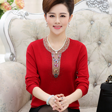 Hot Sale Middle Aged Women Sweater New O-neck Pullover Spring Tops Solid Cashmere Autumn Female Plus Size