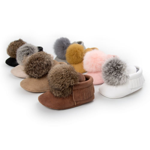 Hot Baby Shoes Infant Boy Girl Pompon Ball  First Walkers Soft Sole Cribborn Anti-Slip Mocassin Shoes 0-18M