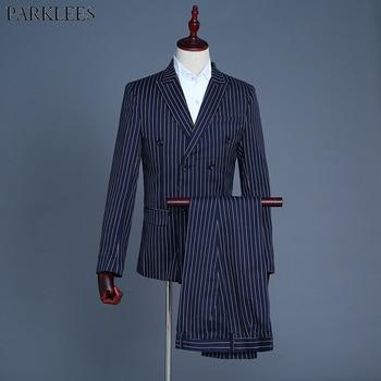 Navy Striped Double Breasted Suit Men 2018 Fashion Slim 3 Piece Suit (Jacket+Vest+Pants) Men Wedding Stage Suits Costume Homme