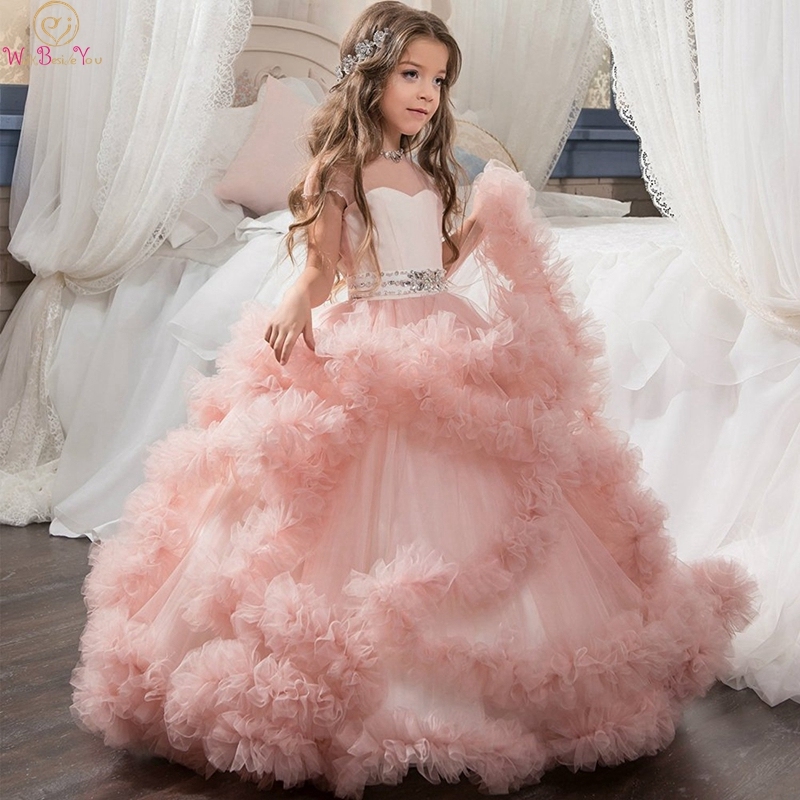 2019 New Ruffles Ball Gown Flower Girls Dresses Pink Girls Wedding Birthday Party Communion Gowns With Beauty Bow Pageant Dress