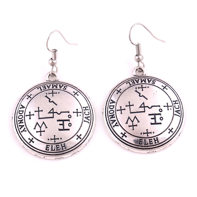 US $4 0 |Silver or Gold Color Archangel Samael Talisman Seal of the Samael  Angelic Earring-in Drop Earrings from Jewelry & Accessories on