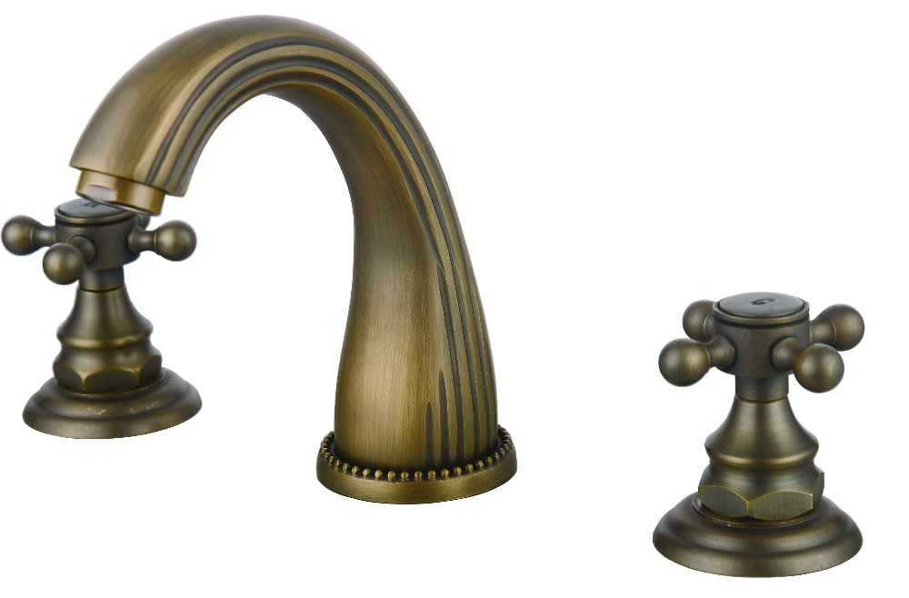 Free Ship 8 Widespread 3 Pcs Lavatory Sink Faucet Mixer Tap Antique Bronze Finish Deck Mounted