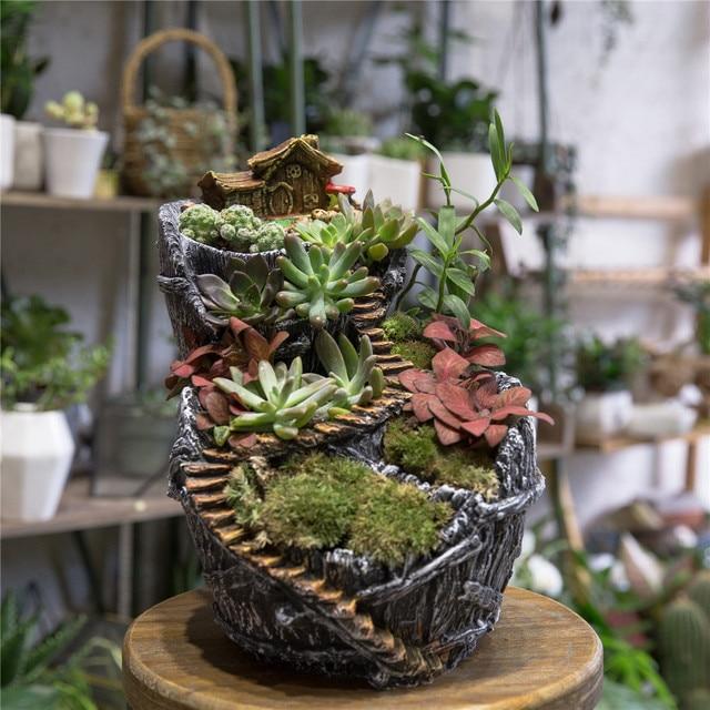 desktop fairy garden broken bucket resin big flower pot cottage vertical sculpture planter decorative plants succulents - Fairy Garden Plants