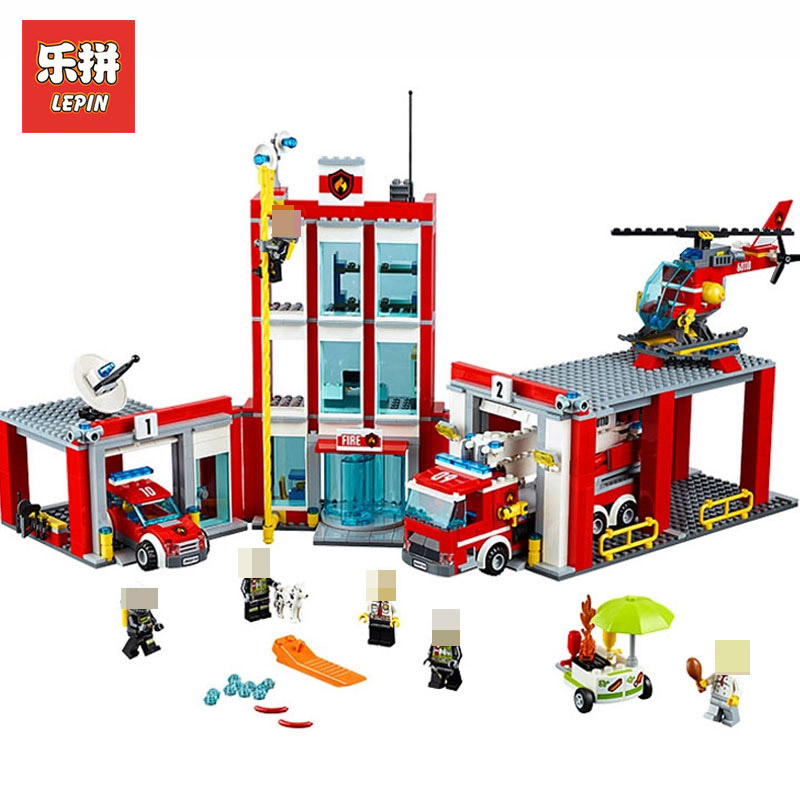 Lepin 02052 Real City Series The Fire Station 1029Pcs LegoINGlys 60110 Building Blocks Bricks Educational Toy Model boys Gift lepin 02052 genuine city series the fire station set legoing 60110 building blocks bricks educational toys as christmas gift