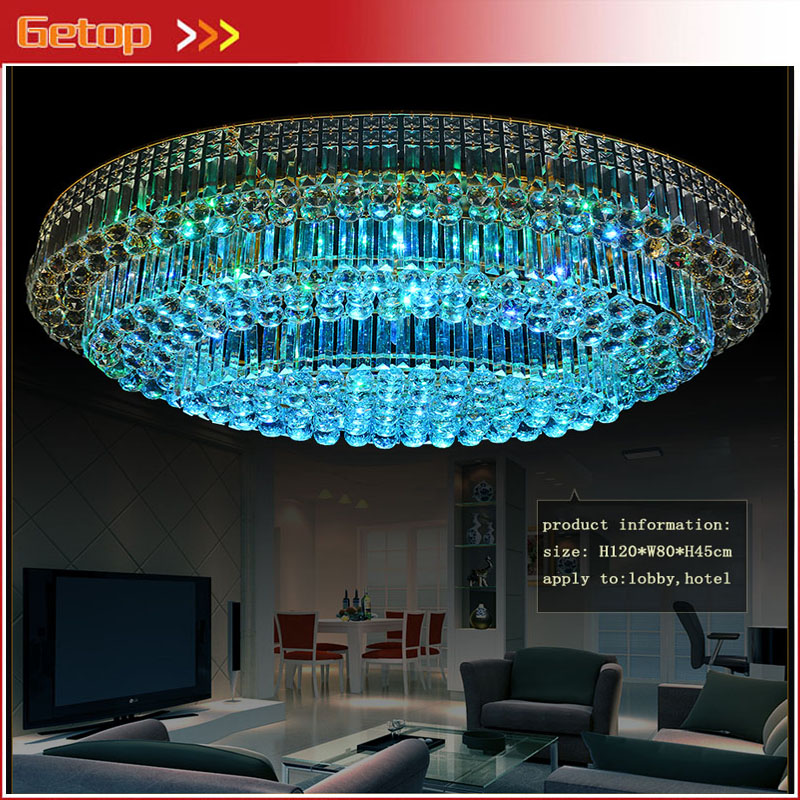 Zx Modern Crystal Chain Led Art Deco Ceiling Lamp Ellipse