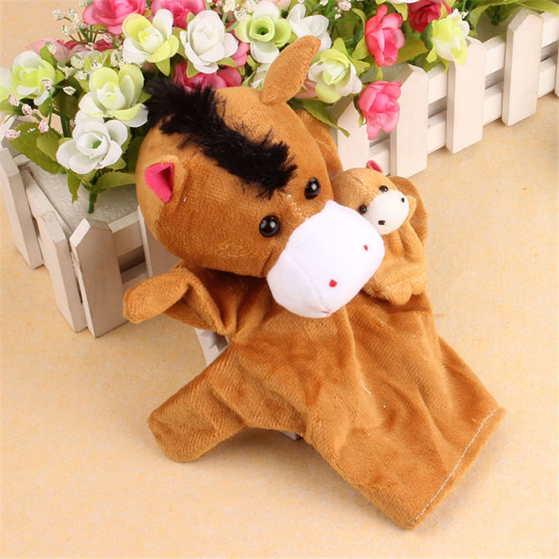 Cartoon Dog Soft Animal Finger Puppe 2Pcs Horse Soft Animal Finger Puppet Baby Infant Kid Toy Plush Toys Free Shipping