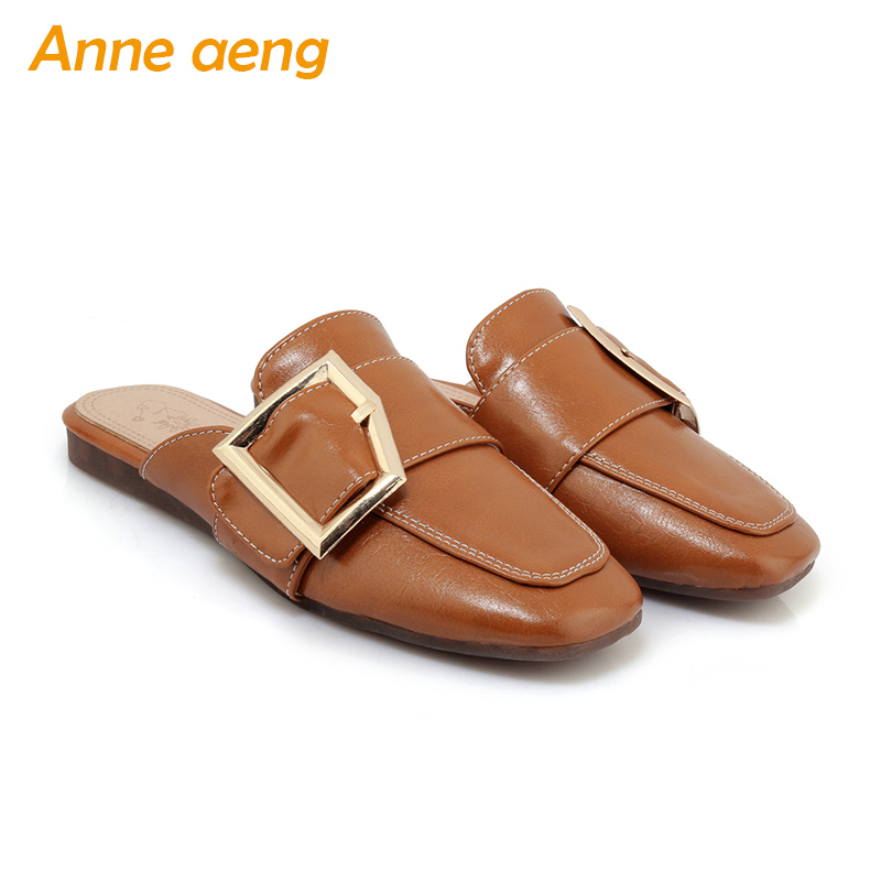spring summer women flippers square toe soft outsole casual mules ladies slides outdoor black women slippers with metal buckle