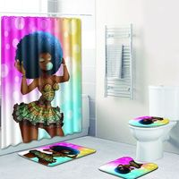Four piece African Woman 4pcs Bathroom Shower Curtain and Rug Sets Toilet Mat in Bath Mats with Foot Pads Christmas Carpet New